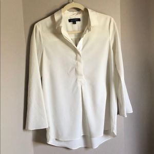 Ellen Tracy White Flowy Blouse with collar Sz S